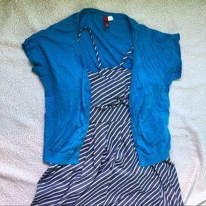 H&M Blue Short Sleeve Button Cardigan